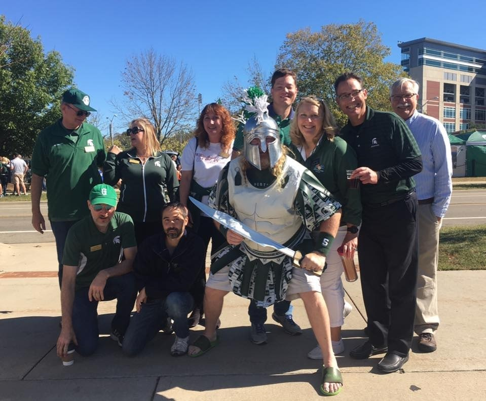 Group photo with sparty